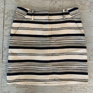 Loft Cotton Blend Lined Skirt Navy Cream Stripe 4